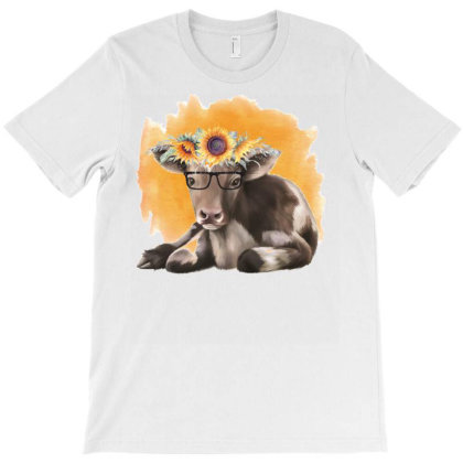 Cow With Sunflowers T-shirt Designed By Alparslan Acar