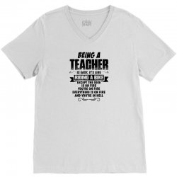 being a teacher copy V-Neck Tee | Artistshot