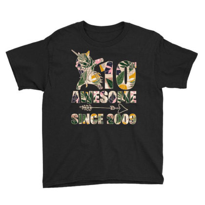 10th Awesome Since 2009 Youth Tee Designed By Badaudesign