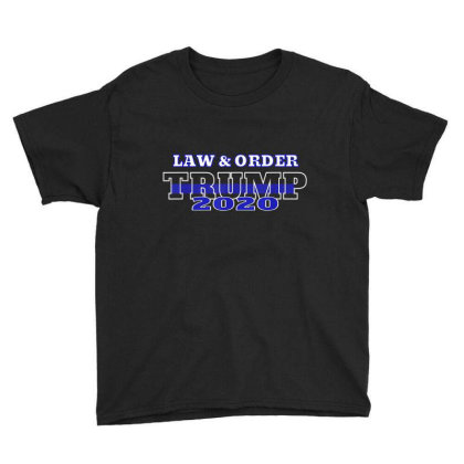 Law And Order Law Enforcement Thin Blue Line Trump Youth Tee Designed By Kakashop