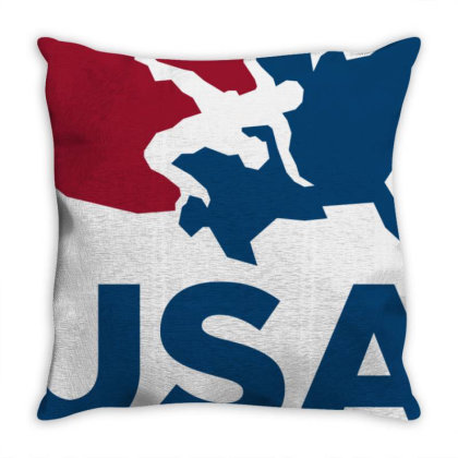 Usa Wrestling Long Sleeve Throw Pillow Designed By Schulz-12