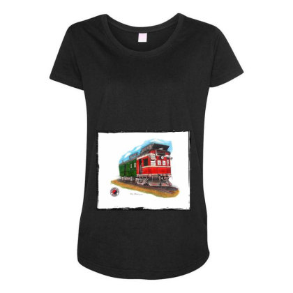 Np Railcar Maternity Scoop Neck T-shirt Designed By Old Mill Studio