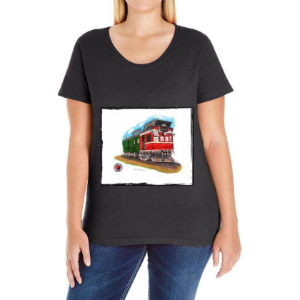 Np Railcar Ladies Curvy T-shirt Designed By Old Mill Studio