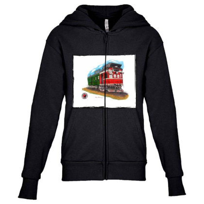 Np Railcar Youth Zipper Hoodie Designed By Old Mill Studio