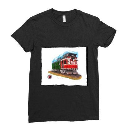 Np Railcar Ladies Fitted T-shirt Designed By Old Mill Studio