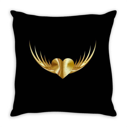 Golden Heart Throw Pillow Designed By Chiks