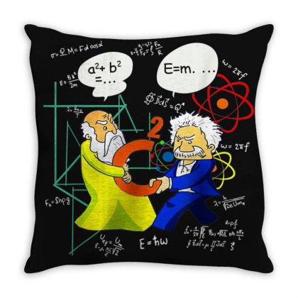 Pythagoras And Einstein Funny Science Throw Pillow Designed By Mrt90