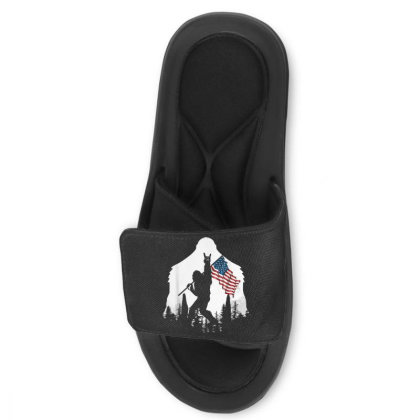 Bigfoot Victorty Sign Peace Usa Flag In The Forest Camping Slide Sandal Designed By Mrt90