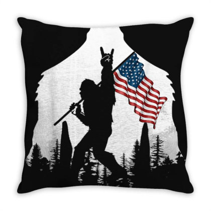 Bigfoot Victorty Sign Peace Usa Flag In The Forest Camping Throw Pillow Designed By Mrt90