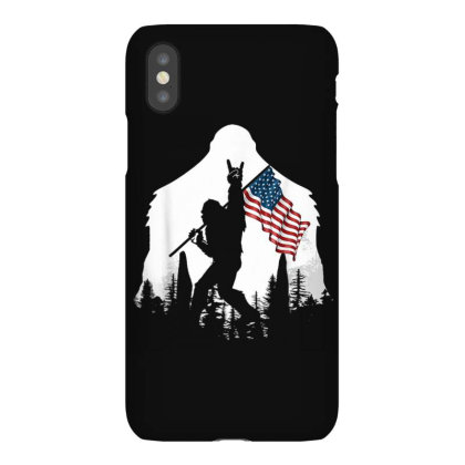 Bigfoot Victorty Sign Peace Usa Flag In The Forest Camping Iphonex Case Designed By Mrt90