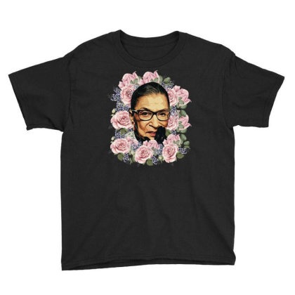 Ruth Bader Ginsburg Notorious Rbg Flower Youth Tee Designed By Sengul