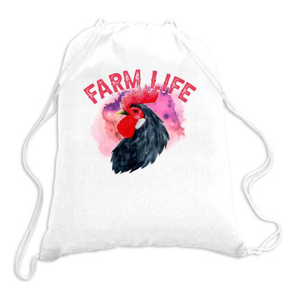 Watercolor Farm Life Drawstring Bags Designed By Sengul