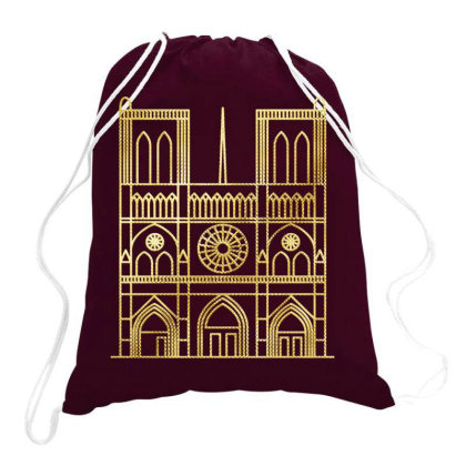 Gold Foil Notre Dame Drawstring Bags Designed By Chiks