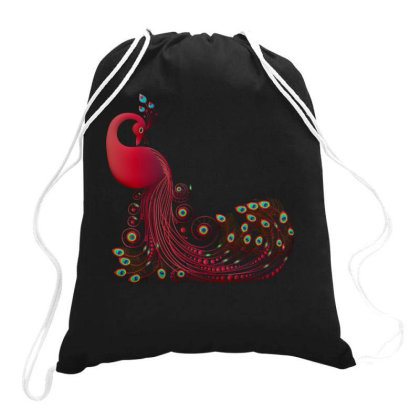 Floral Peacock Drawstring Bags Designed By Chiks