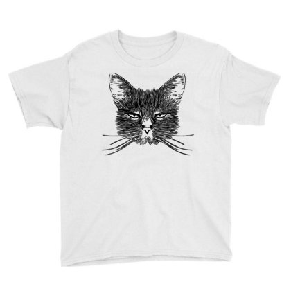 Hand Drawing Of Cat Youth Tee Designed By Chiks