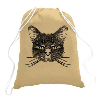 Hand Drawing Of Cat Drawstring Bags Designed By Chiks