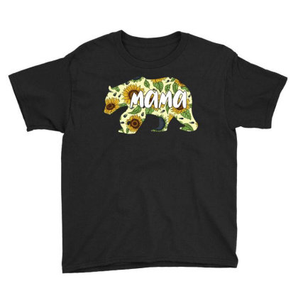 Mama Bear Sunflower Youth Tee Designed By Ashlıcar