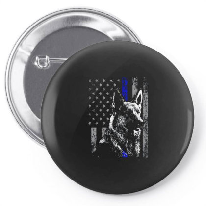 Thin Blue Line Flag K 9 German Shepherd Police Dog Pin-back Button Designed By Bannon