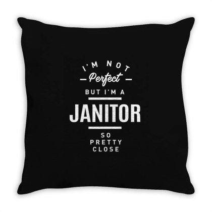 Janitor Shirt Job Title Gift Throw Pillow Designed By Cidolopez