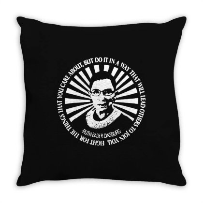 Ruth Bader Ginsburg   Be Independent Feminist Throw Pillow Designed By Mary Art
