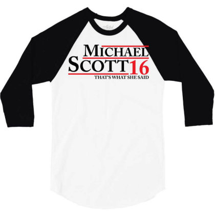 Michael Scott 2016 That's What She Said The Office 3/4 Sleeve Shirt Designed By Schulz-12