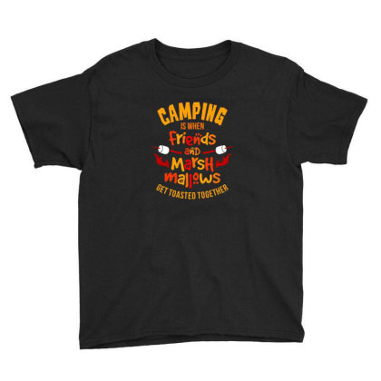 Camping Is When Friends Youth Tee Designed By Jonathanz