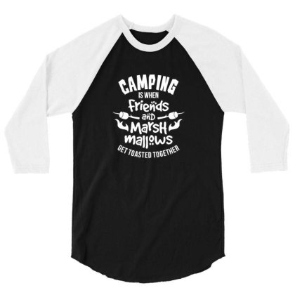 Camping 3/4 Sleeve Shirt Designed By Jonathanz