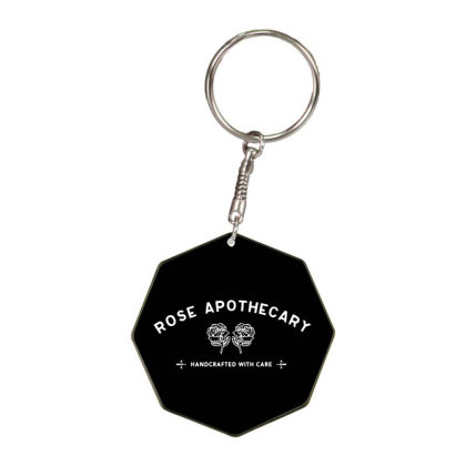 Rose Apothecary   White Octagon Keychain Designed By Kevin Design