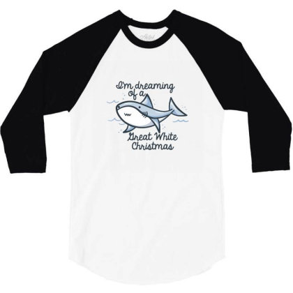 Christmas Shark 3/4 Sleeve Shirt Designed By Brittnicarlson
