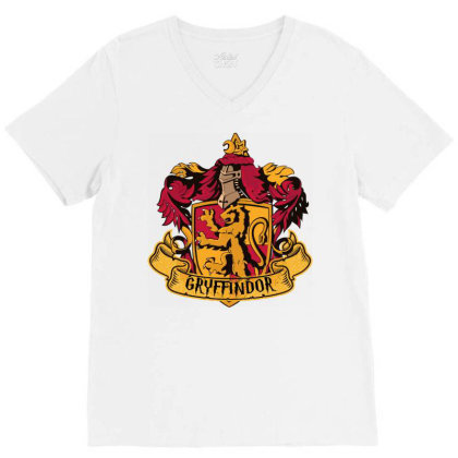 Gryffindor Crop Top V-neck Tee Designed By Schulz-12