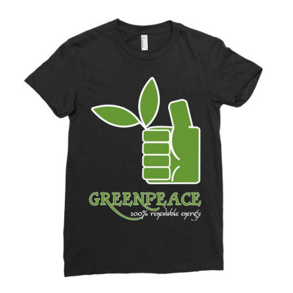Greenpeace 100 Renewable Energy Ladies Fitted T-shirt Designed By Schulz-12