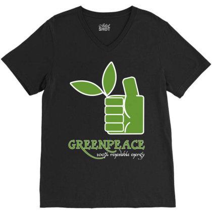 Greenpeace 100 Renewable Energy V-neck Tee Designed By Schulz-12