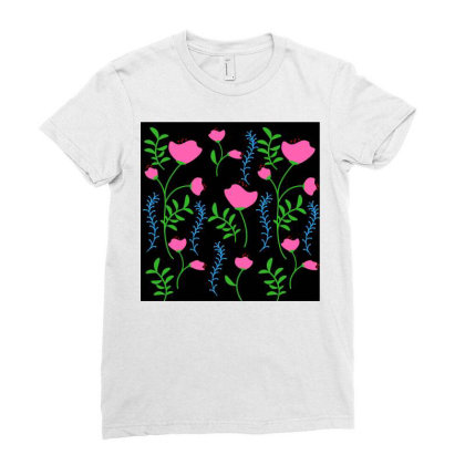 Pink Poppy Flower Design Ladies Fitted T-shirt Designed By American Choice