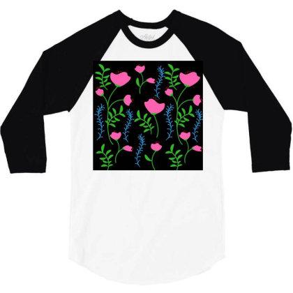 Pink Poppy Flower Design 3/4 Sleeve Shirt Designed By American Choice