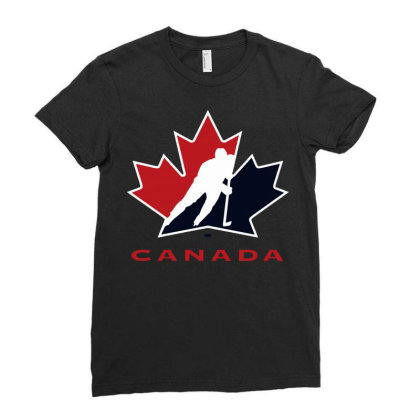 Canada National Team Hockey Logo Ladies Fitted T-shirt Designed By Schulz-12