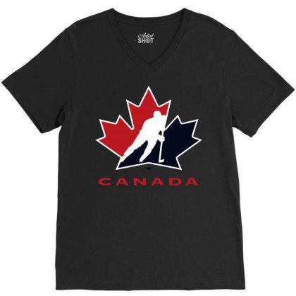 Canada National Team Hockey Logo V-neck Tee Designed By Schulz-12