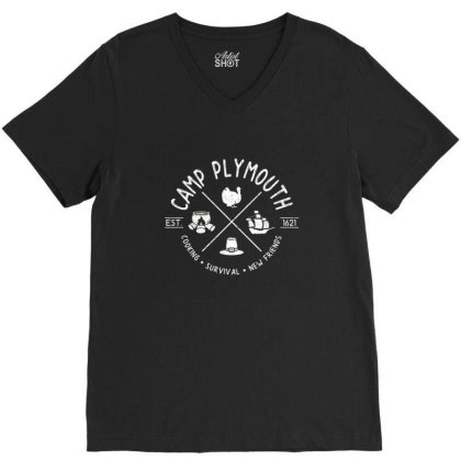 Camp Plymouth V-neck Tee Designed By Elijahbiddell