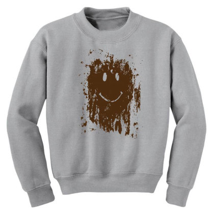 Mud Splatter Smiley Face Youth Sweatshirt Designed By Hectorz