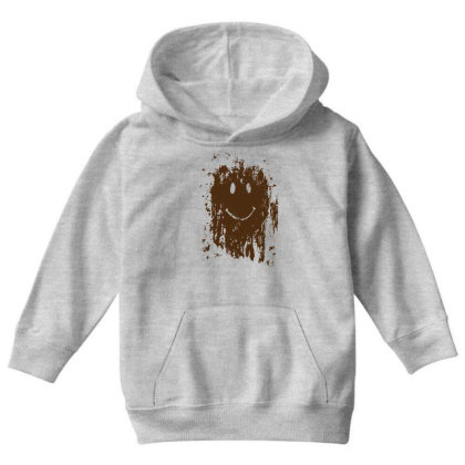 Mud Splatter Smiley Face Youth Hoodie Designed By Hectorz