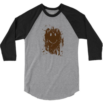 Mud Splatter Smiley Face 3/4 Sleeve Shirt Designed By Hectorz