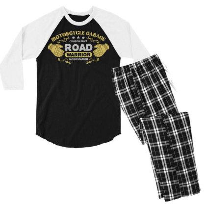 Motorcycle Garage Men's 3/4 Sleeve Pajama Set Designed By Chiks