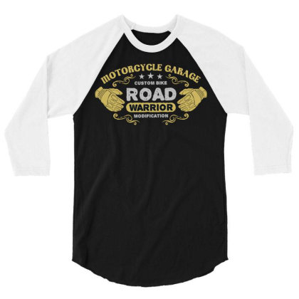 Motorcycle Garage 3/4 Sleeve Shirt Designed By Chiks