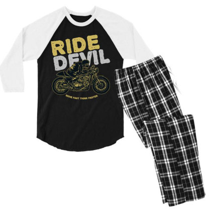 Ride Devil Men's 3/4 Sleeve Pajama Set Designed By Chiks