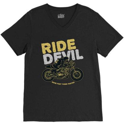 Ride Devil V-neck Tee Designed By Chiks