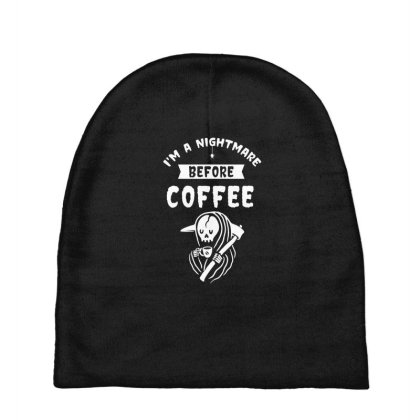 I'm A Nightmare Before Coffee - Halloween Gift Scary Baby Beanies Designed By Diogo Calheiros