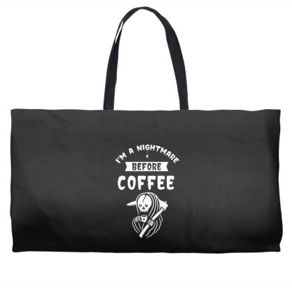 I'm A Nightmare Before Coffee - Halloween Gift Scary Weekender Totes Designed By Diogo Calheiros