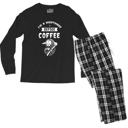I'm A Nightmare Before Coffee - Halloween Gift Scary Men's Long Sleeve Pajama Set Designed By Diogo Calheiros