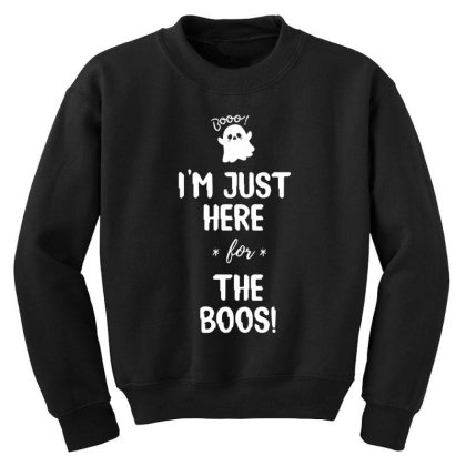I'm Just Here For The Boo's - Halloween Gift Scary Youth Sweatshirt Designed By Diogo Calheiros