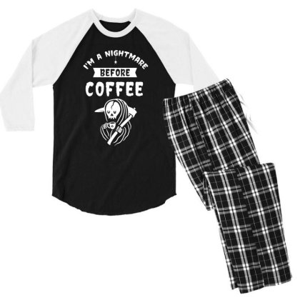 I'm A Nightmare Before Coffee - Halloween Gift Scary Men's 3/4 Sleeve Pajama Set Designed By Diogo Calheiros