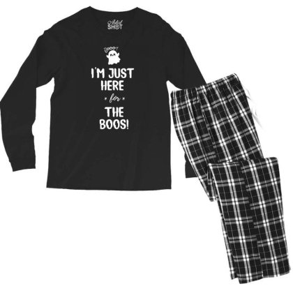 I'm Just Here For The Boo's - Halloween Gift Scary Men's Long Sleeve Pajama Set Designed By Diogo Calheiros